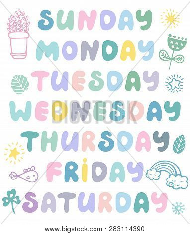 Hand Drawn Vector Weekdays And Elements For Notebook, Diary, Calendar, Schedule, Sticker, Bullet Jou