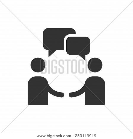 Talk People Icon In Flat Style. Man With Speech Bubble Illustration On White Isolated Background. Ta