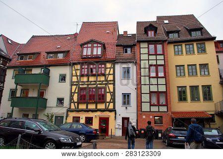 Erfurt, Thuringia, Germany - May 04, 2013: The Fachwerk Houses In The Erfurt Old Town