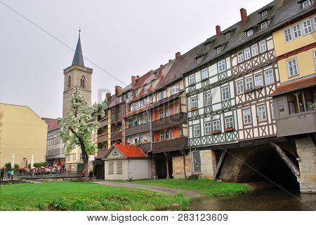 Erfurt, Thuringia, Germany - May 04, 2013: The Merchants' Bridge In Erfurt