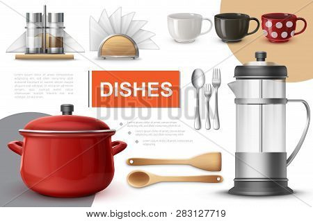 Realistic Dishes And Tableware Composition With Saucepan Teapot Spoons Forks Cups Spatula Napkin Hol