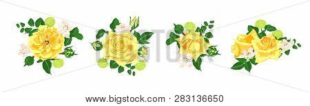 Floral Set, Wedding Rose Bouquet. Vector Yellow Flowers With Green Leaves. Vintage Floral Collection