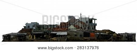 Dilapidated Old Low Rise Residential Buildings Painted On A White Background