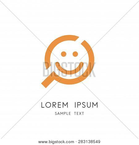 Search For Happiness Logo - Smiling Face And Loupe Or Magnifier Symbol. Good Mood And Positive Emoti