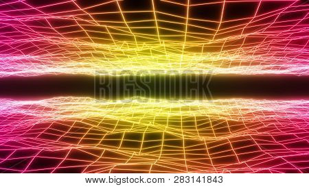 Abstract Neon Lights Polygonal Wireframe Surface. Artificial Intelligence And Virtual Reality Backgr