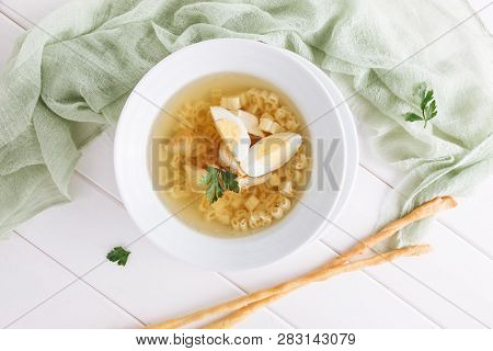 Chicken Noodle Soup With Egg Top Down View