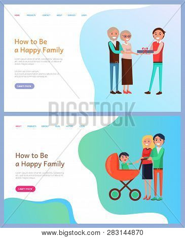 How To Be Happy Family Birthday Celebration Vector. People Walking With Perambulator And Newborn Kid