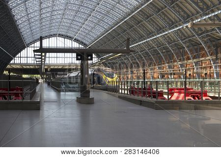 London, England - May 19, 2018. St Pancras Station Is The Main Rail Terminal For Eurostar Train Depa