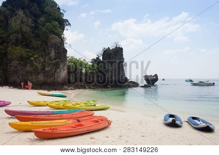 Canoe On The Beach At Hong Island Krabi,thailand