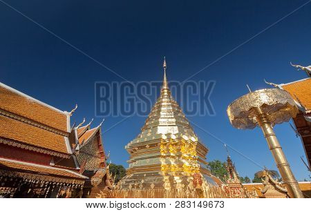 Golden Pagoda Wat Phra That Doi Suthep Chiangmai Thailand