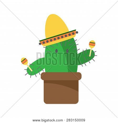 Cactus Cartoon Character With Maracas And Sambrero On White Background Icon