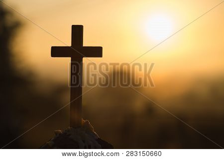 Christian Wooden Cross On A Background With Dramatic Lighting,  Jesus Christ Cross, Easter, Resurrec