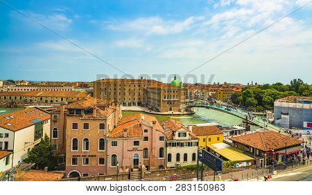 Venice / Italy - July 16, 2013: Constitution Bridge Aerial View. It Is The Fourth Bridge Over The Gr