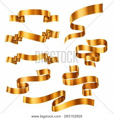Set Of Golden Metallic Ribbons, Vector Collection Of Banners, Eps 10 Contains Transparency