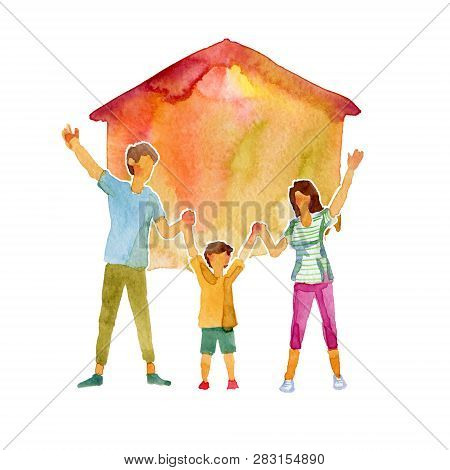 Watercolor Illustration Of A Happy Family In Front Of Their Home