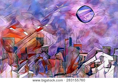 Colorful abstract painting. Fairy mountains under mystic moon. 3D rendering