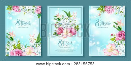 Happy International Womens Day 8 March. Set Of Three Floral Backgrounds With Blooming Flowers Of Pin
