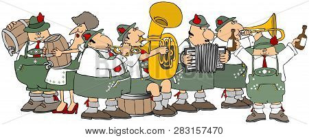 Illustration Showing Bavarians Having An Oktoberfest Party With A Brass Band And Kegs Of Beer.