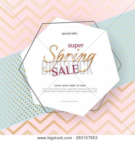 Poster Spring Sale Elegant Golden Specks Zigzag Pink Background Luxury Card Poster For Advertising S