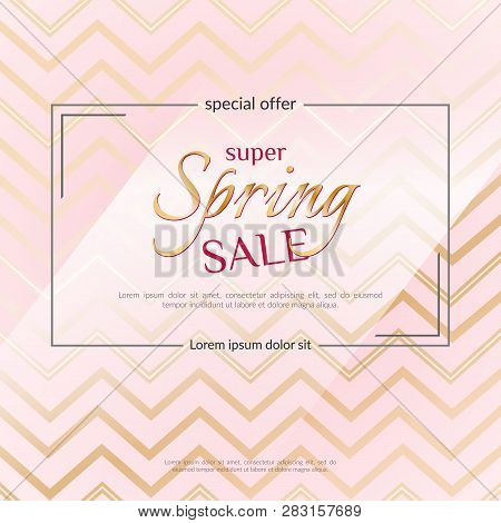 Poster Spring Sale On An Elegant Pink Zigzag Background Luxury Golden Card Poster For Advertising Sa