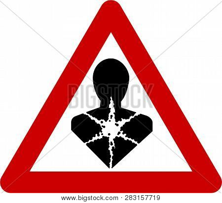 Warning Sign With Carcinogenic Substances Symbol On White Background