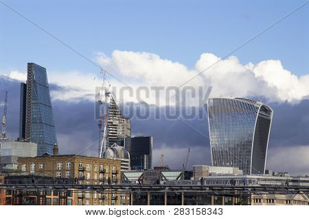 London, Uk - May 20, 2017. London Cityscape Across The River Thames With A View Of The Leadenhall Bu