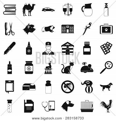 Veterinary Illness Icons Set. Simple Style Of 36 Veterinary Illness Icons For Web Isolated On White