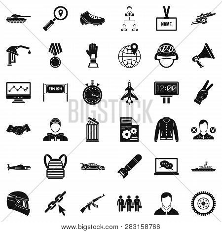 Great Victory Icons Set. Simple Style Of 36 Great Victory Icons For Web Isolated On White Background
