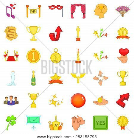 Victory In Sport Icons Set. Cartoon Style Of 36 Victory In Sport Icons For Web Isolated On White Bac