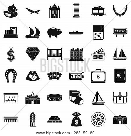 Riches Icons Set. Simple Style Of 36 Riches Icons For Web Isolated On White Background