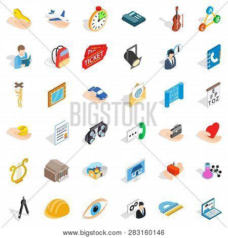 Hard Work Icons Set. Isometric Style Of 36 Hard Work Icons For Web Isolated On White Background