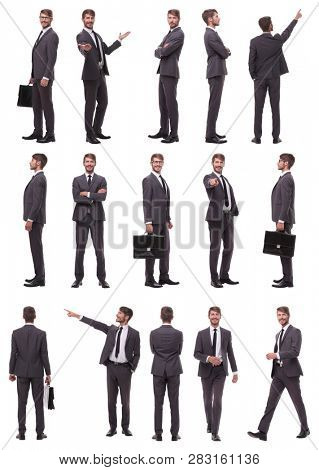collage of photos of a successful businessman. isolated on white