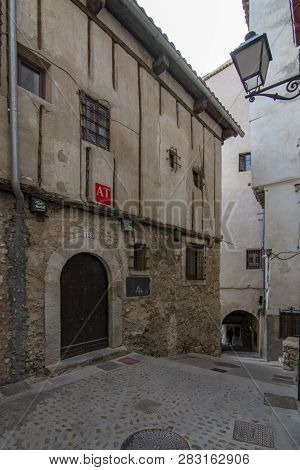 Cuenca, Spain; February 2017:  Passageway Between Old Houses  In The Historic Center Of Cuenca.  Tra