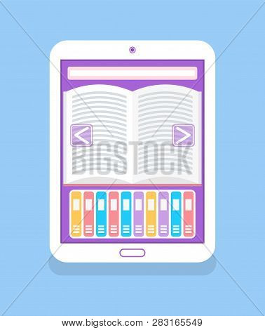 Electronic Book With Open Page And Arrows Isolated Icon Vector. Portable Device Allowing To Read Any