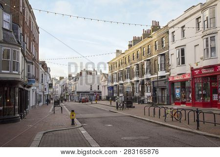 Weymouth, United Kingdom - December 26, 2017 - Rows Of Shops In Town Centre, Weymouth, Dorset, Engla