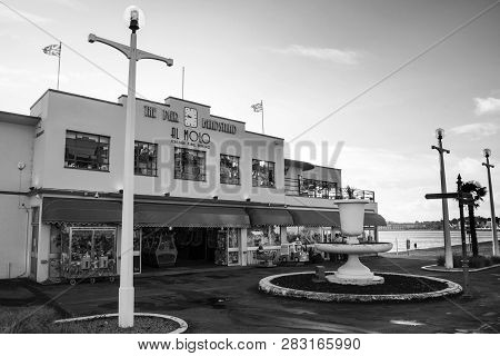 Weymouth, United Kingdom - December 26, 2017 - Front View Of The 1920s Art Deco Style Arcade Along T