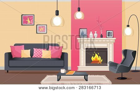 Designer Room In Pink Color Of Wallpaper. Sofa And Armchair, Coffee Table On Mat, Burning Fireplace