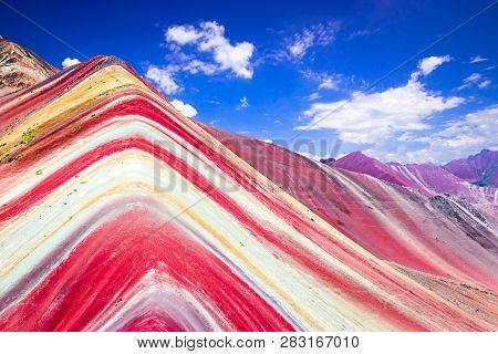 Vinicunca, Peru - Rainbow Mountain, Cordillera De Los Andes, Cusco Region In South America.