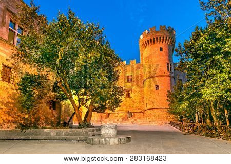 Rhodes, Greece - Palace Of The Grand Master Of The Knights Of Rhodes, Night Scene.