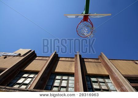 street basket (board and old building)
