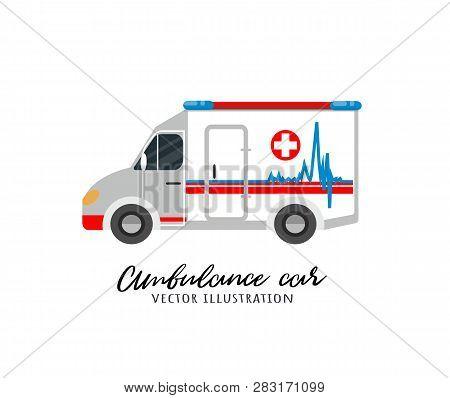 Ambulance Car Vector Illustration. Ambulance Auto Vehicle Isolated Icon. Ambulance Flat Vector Illus
