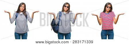 Collage of asian young student woman wearing headphones and backpack over white isolated background clueless and confused expression with arms and hands raised. Doubt concept.