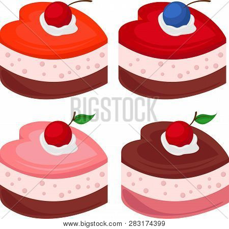Set Of Cakes In The Form Of Hearts. Vector Illustration On The Theme Of Eating Souffle Cakes Sweets.