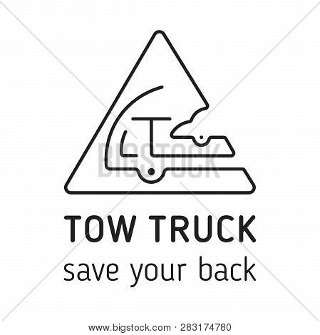 Towing Truck Icon Vector. Towing Truck Icon Isolated Vector For Logo, Branding. Flat Black Towing Tr