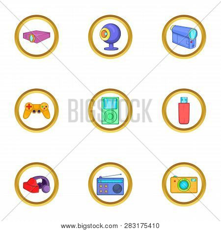 Portable Gadget Icons Set. Cartoon Set Of 9 Portable Gadget Icons For Web Isolated On White Backgrou
