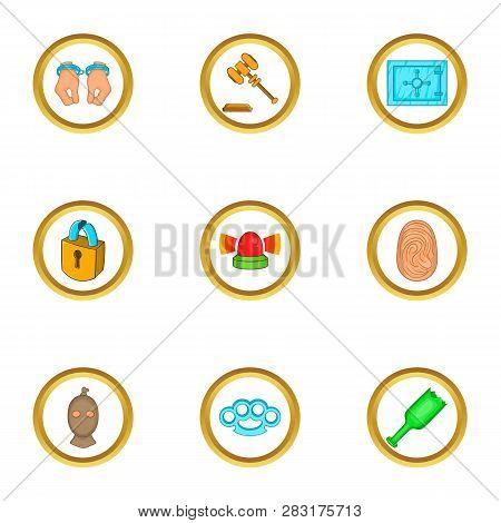 Court Icons Set. Cartoon Set Of 9 Court Icons For Web Isolated On White Background