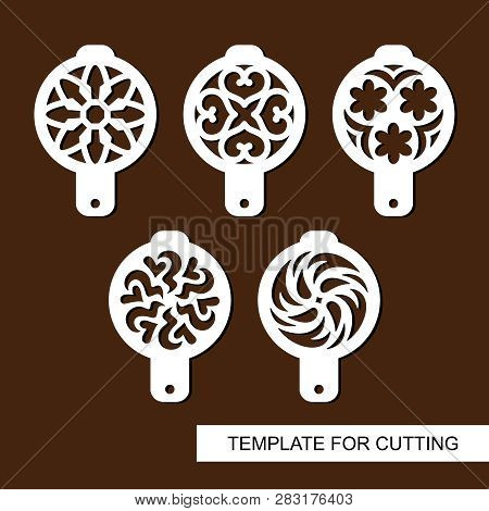 Set Of Coffee Stencils. For Drawing Picture On Cappuccino, Macchiato And Latte . Abstract Ornament.