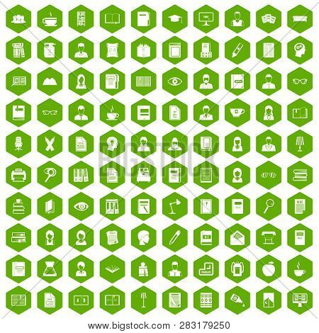 100 Reader Icons Set In Green Hexagon Isolated Illustration