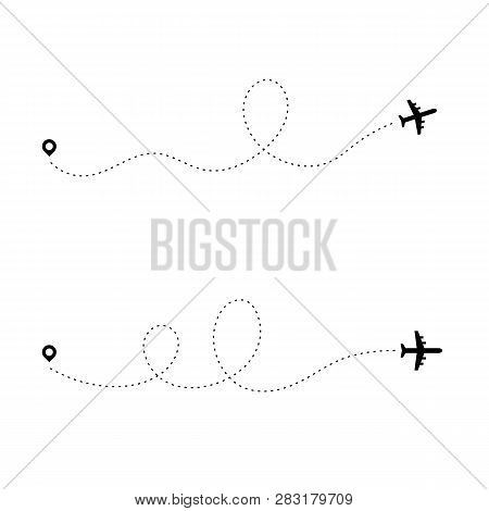 Airplane Dotted Path. Dash Travel Line Route Point Aircraft Path Flight Map Trip Plan Airline Trace.