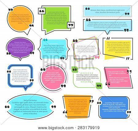 Texting Boxes. Quote Text Design Info Boxes Quotation Bubble Blog Quotes Symbols. Speech Citation Ba